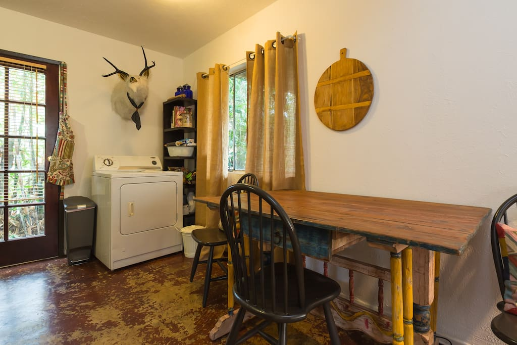 Dining table and  washer and dryer available at all times.