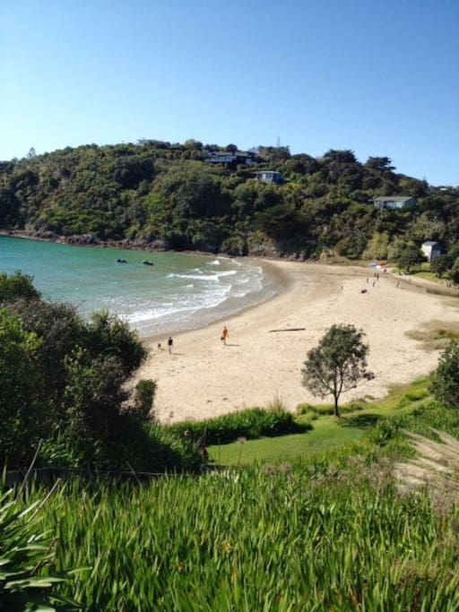 Little Oneroa Beach 15mins walk or 5 mins drive