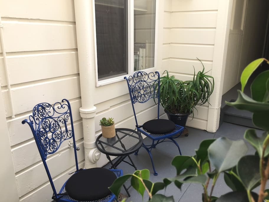 Private patio at front door