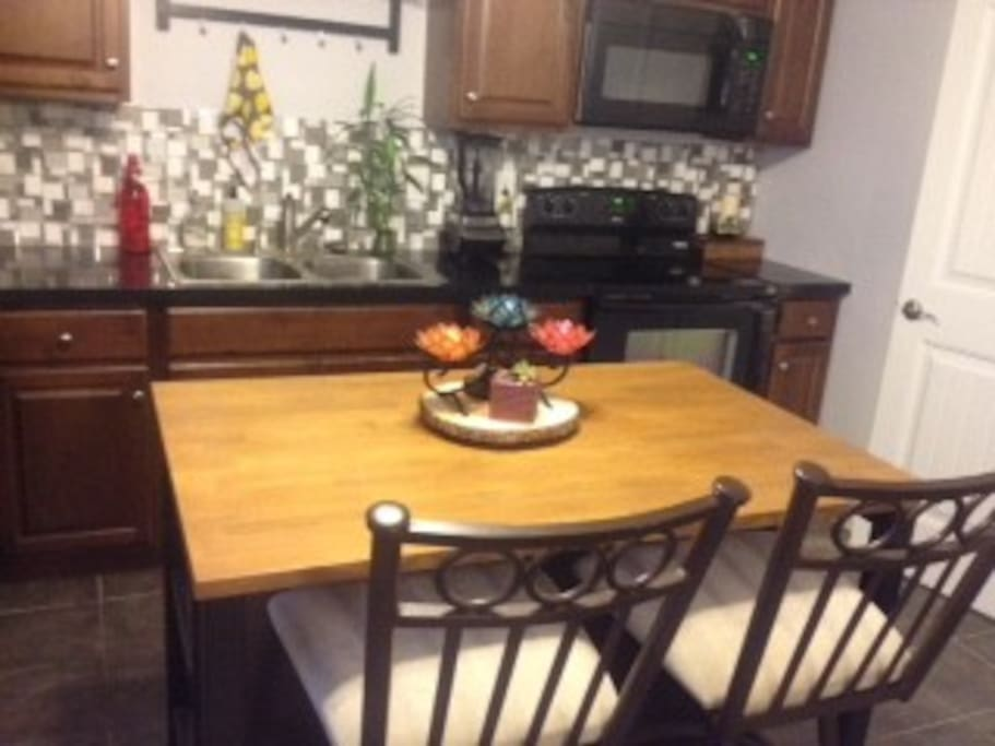 eat in kitchen area.  Feel free to use bar stool at desk as well