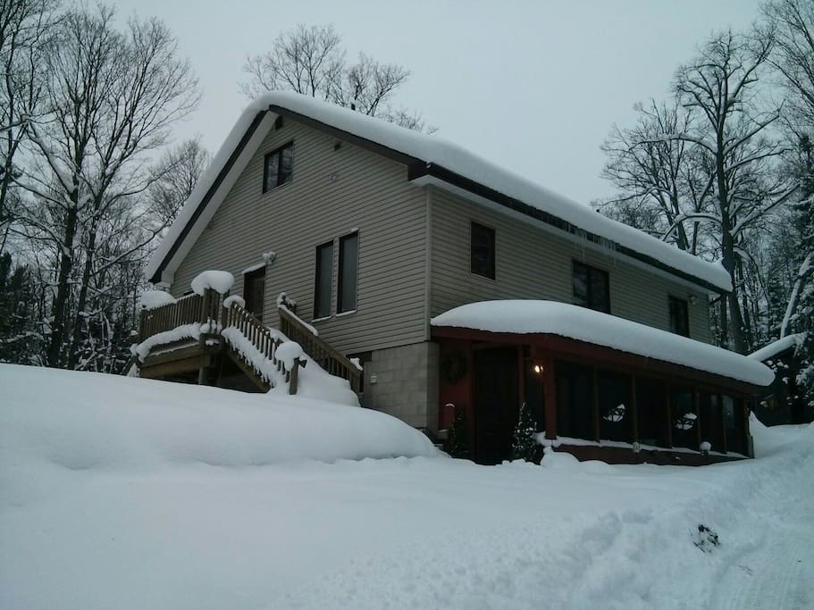Mid winter snow! We have a cozy space to play and relax.