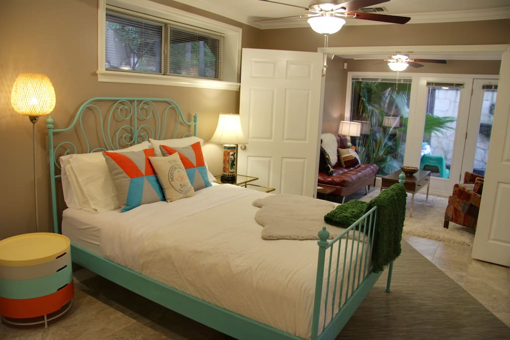 Large double doors can open bedroom up to the living area
