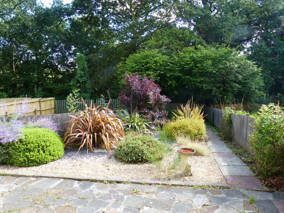Large south facing  enclosed garden with access to beautiful National Trust Woodland
