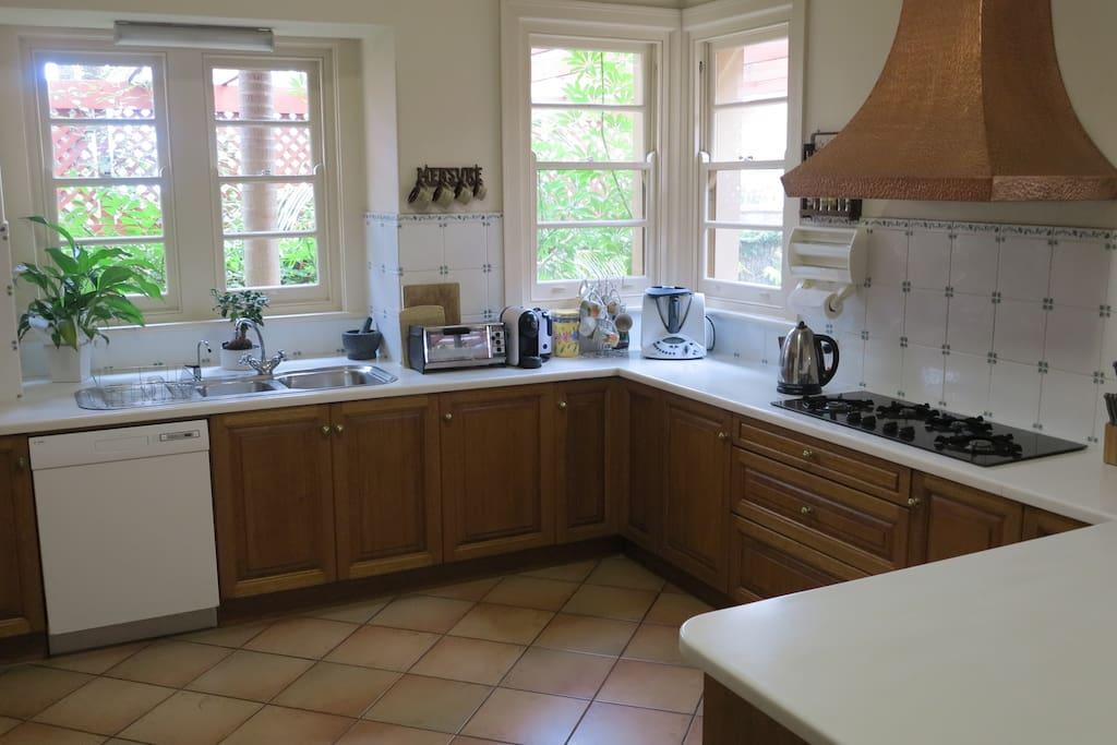 Gourmet kitchen, continuous tea, coffee, snacks