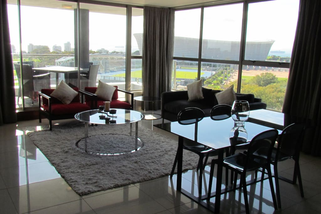 Bright Lounge area with magnificent views almost a wrap around effect of the Atlantic Ocean & Stadium