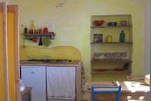 Colorful atmosphere of the kitchen space