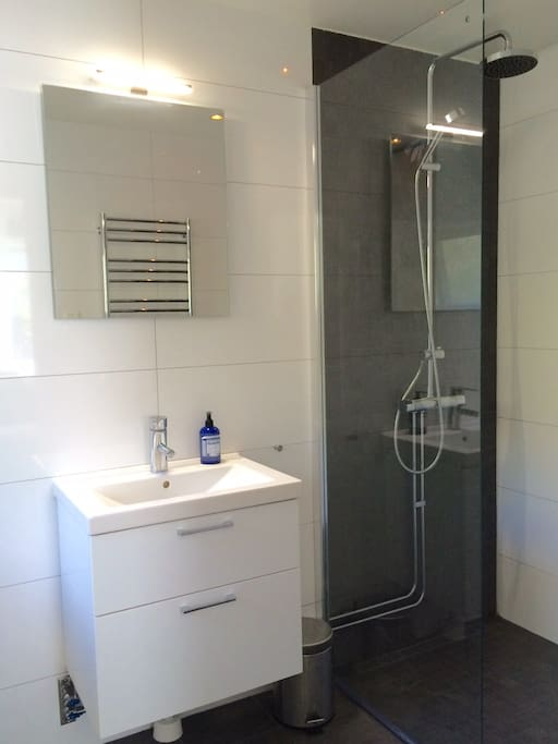 Bathroom with shower and washing machine.