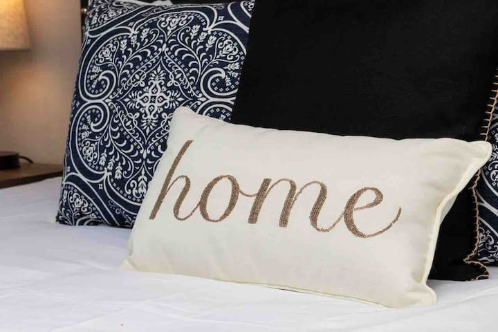 Lush comfortable bed, pillows and bedding