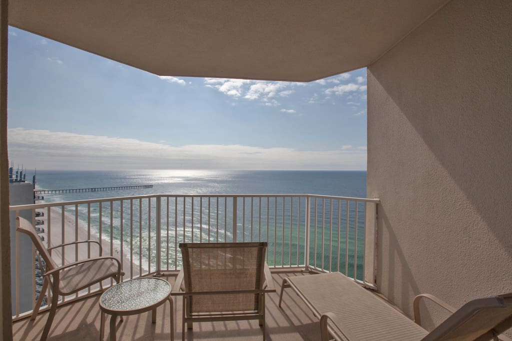 Balcony with direct beach & gulf views!
