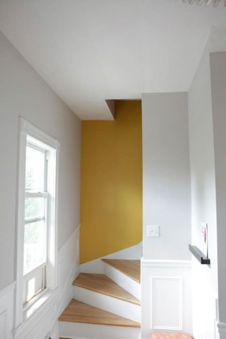 Stairway to the third floor, where the bedrooms are located.