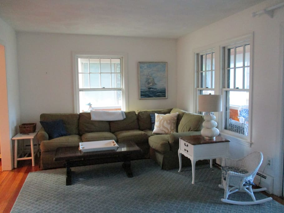 Living room.  Also includes a working fireplace and large flat screen television.