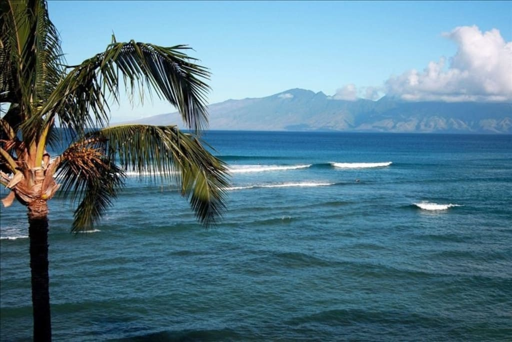 View from Master Bedroom. Looking northwest to Molakai. Great Waves for Surfing!