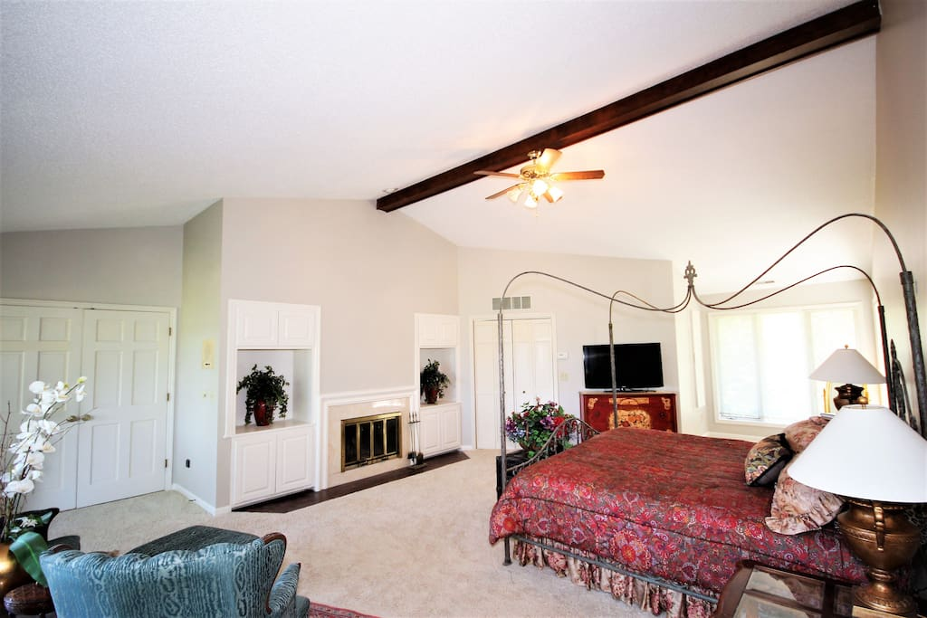 Grand master suite with fireplace