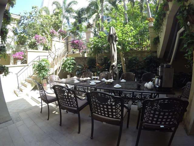 (房间A含早餐接机)大海附近花园泳池小洋楼,带私人花园,大泳池,交通便利我的家