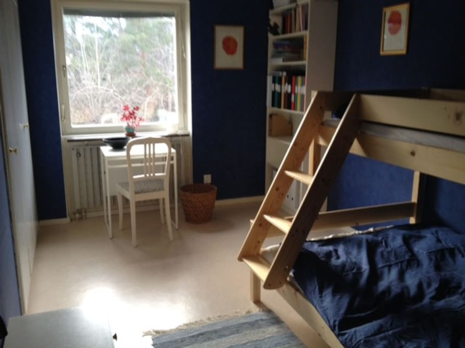 Bedroom nr 2 on the upper floor. Bunkbed with 120cm wide bed down and 90 cm wide on the upper bed.