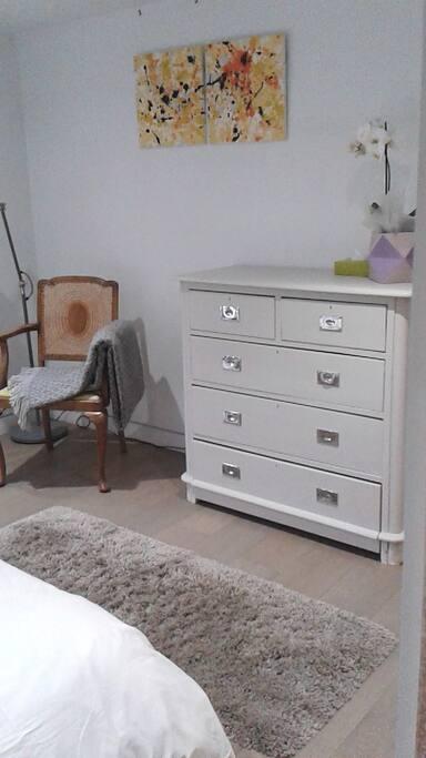 Drawers, natural wood floor