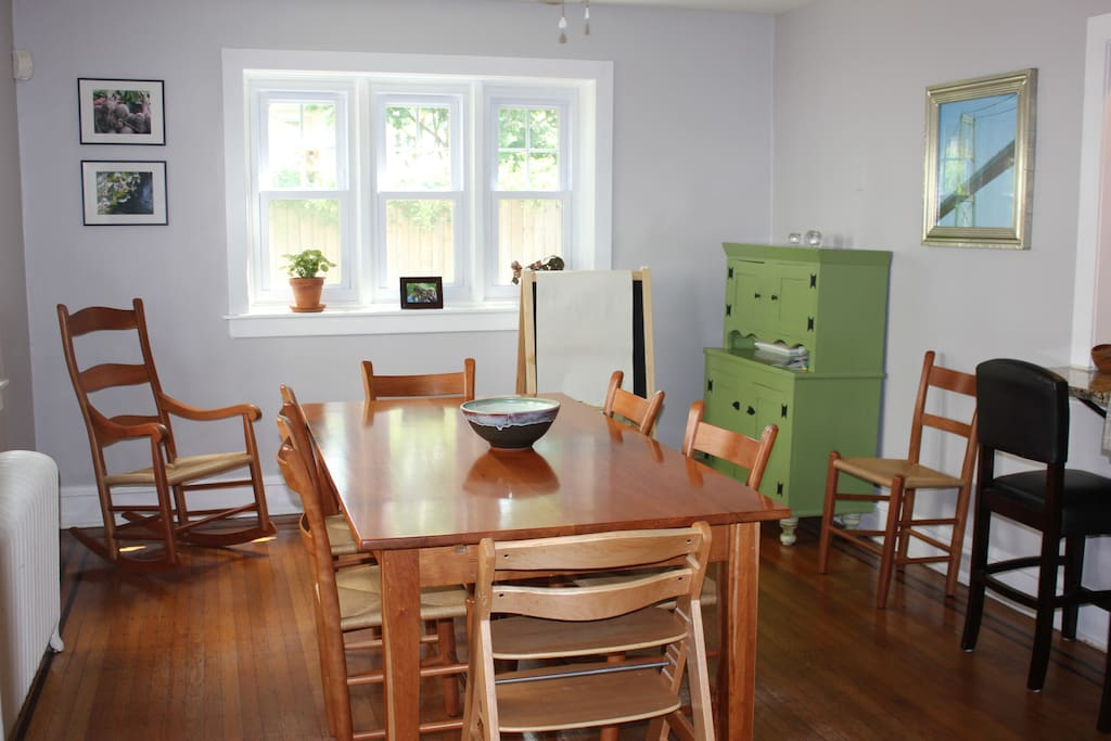Dining room table can be extended to seat 10; additional highchair and booster seat available as well