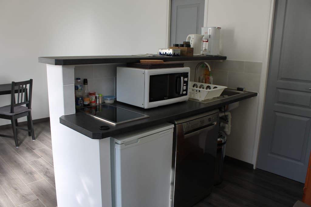 Le salon cuisine, côté kitchenette, avec plaque vitro, et lave-vaisselle