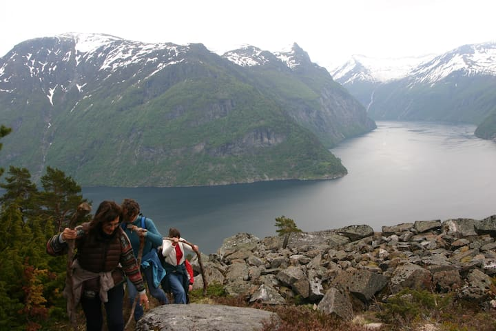 A meditational walk up the old Trondhjemske postal route. View; part of the Geirangerfjord