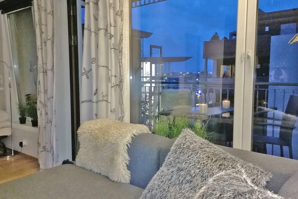 Supersentral leilighet med utsikt til Lillestrøm by.