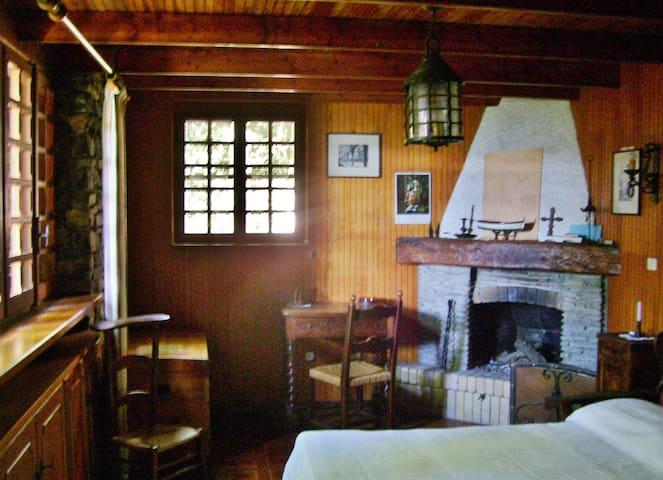 camera matrimoniale piano terra con caminetto