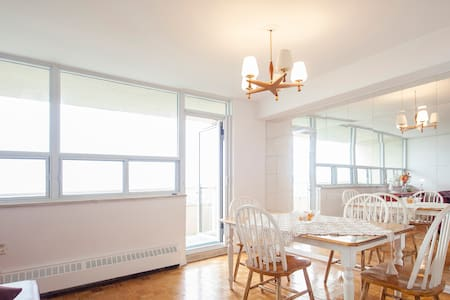 You get the keys to the whole apartment/gym/pool.   Note: There is renovation going on in the pool area.  20 minutes from downtown and 5 minutes to subway. Nice view , pool , gym , big living room ,  Wi-Fi , TV. Supermarket is only 1 minute walk.