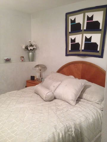 Bedroom with queen size bed. This room has direct access to the bathroom.
