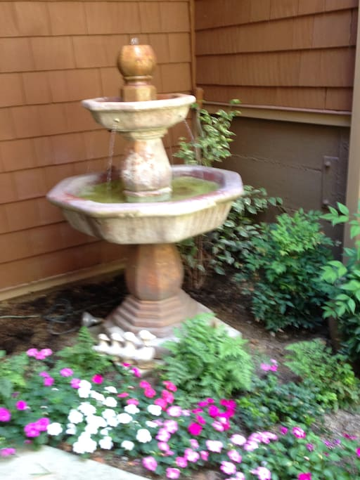 Courtyard fountain in entry