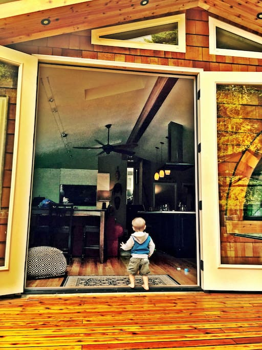 Large, 8'  french doors give the 'living outside' feel