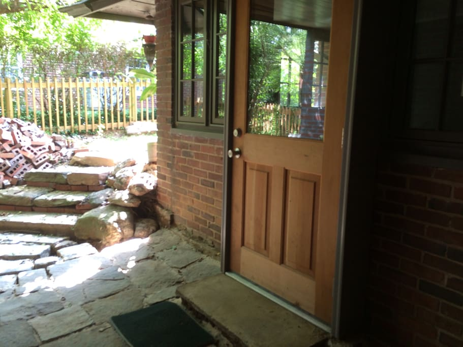 Private entryway around back.