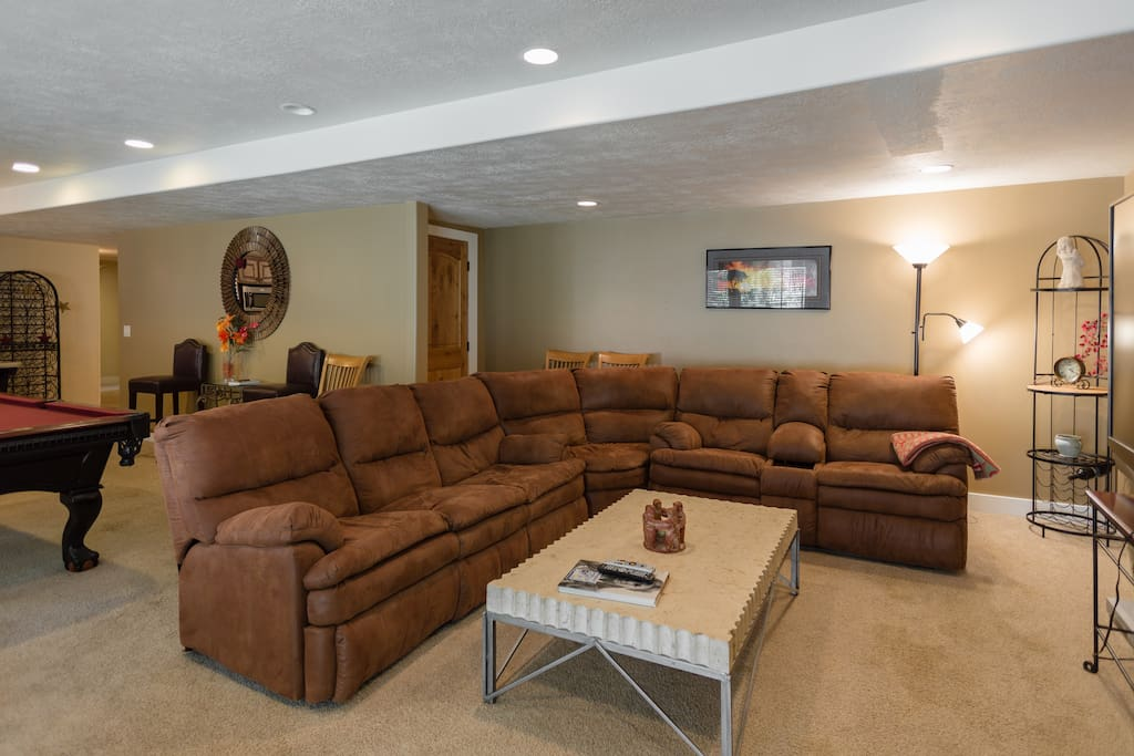 Large wrap around couch in the Living Room