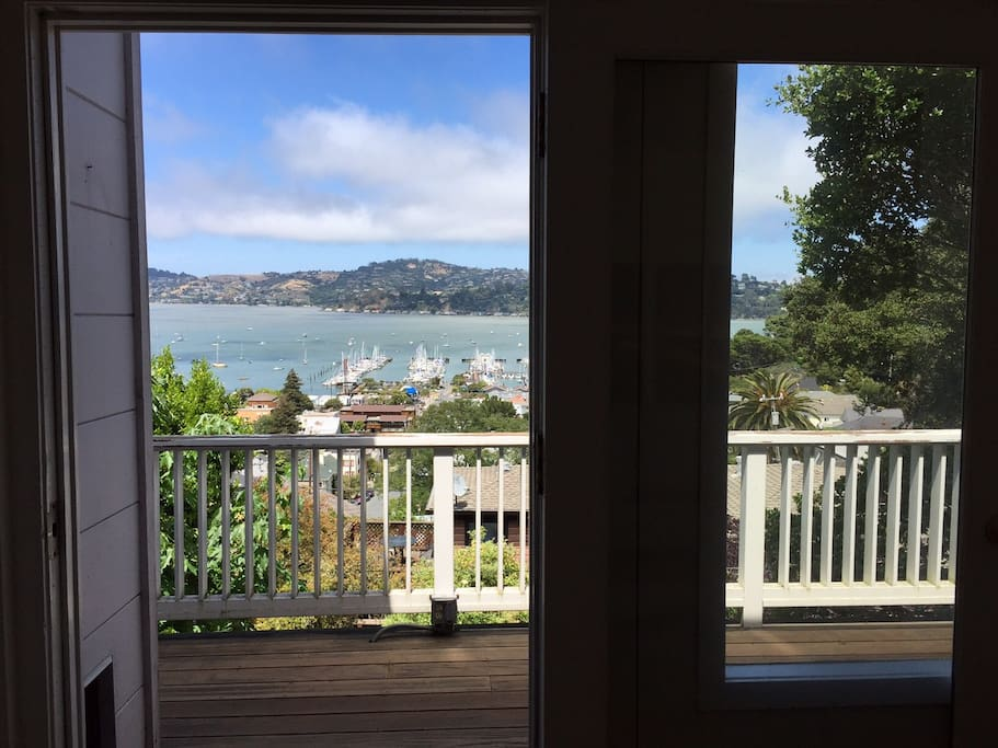 Sunny deck overlooks Sausalito waterfront marina