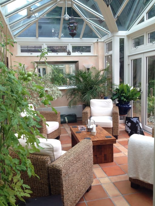 Our Conservatory you are welcome to use as a sitting room.