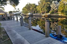 Lighted 2 teir dock for enjoying the water or nights under the Stars. Tropical nature preserve a short boat ride or walk from the Villa