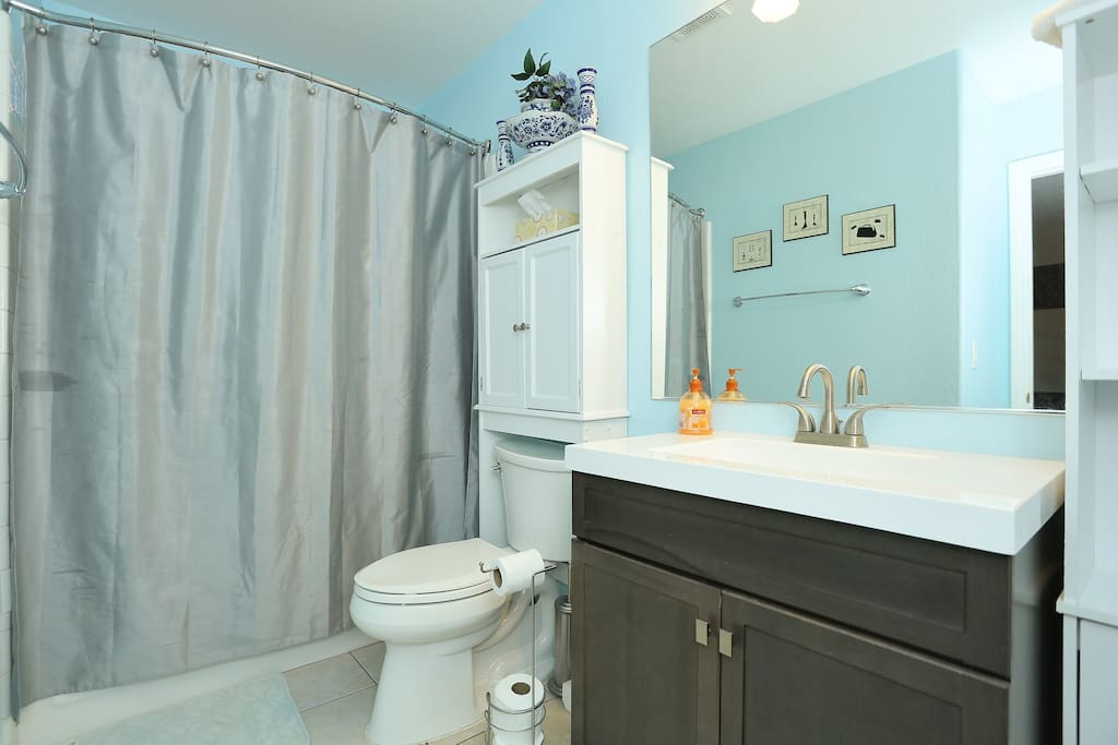 Guest bathroom with complimentary shampoo, conditioner, soap, hair dryer, towel, and other toiletries.