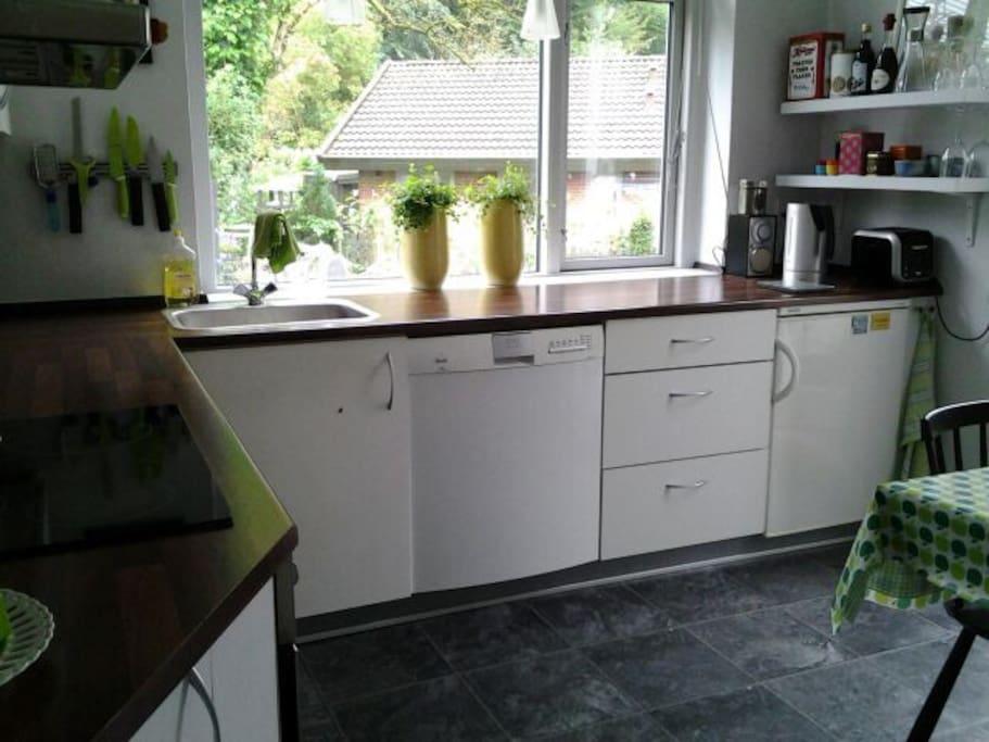 Køkken med udgang til haven