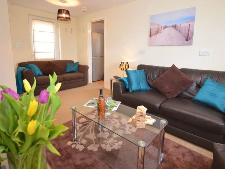 Comfortable lounge with tv, DVDs and board games