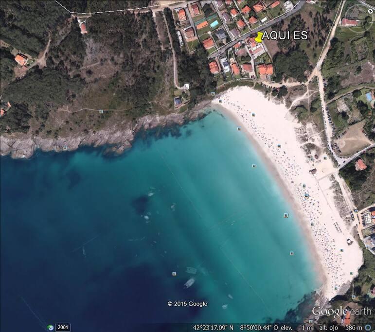 Vista aérea de la playa.