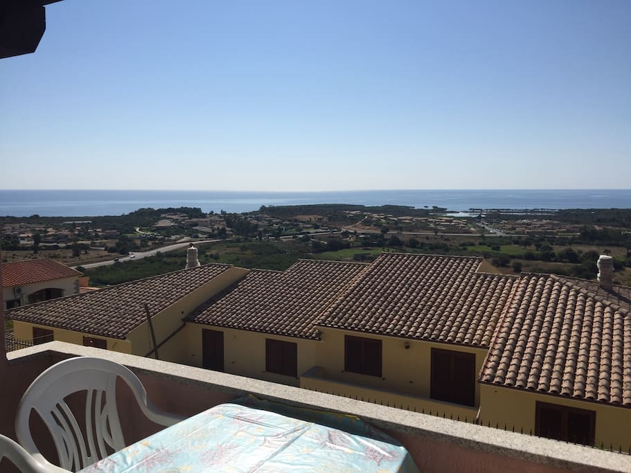 View from the balcony onto the coast of Agrustos