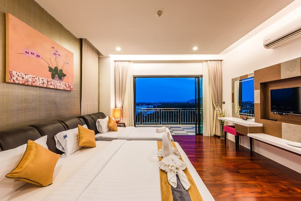 Bedroom with night view