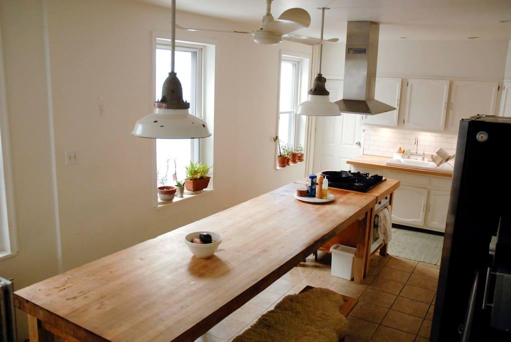 10 ft long maple butcher block kitchen table