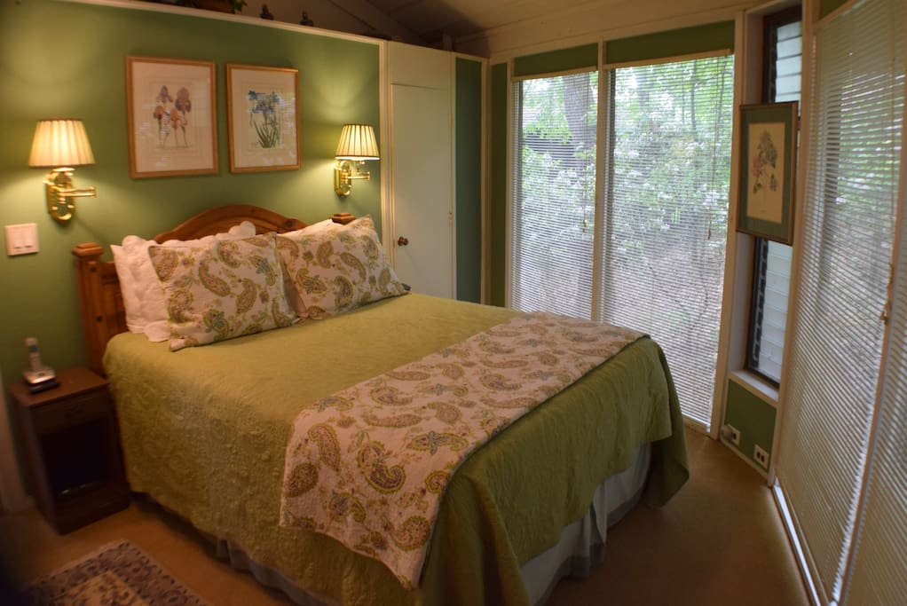 Master Bedroom with private bath, new high quality memory foam mattress, and flat screen tv