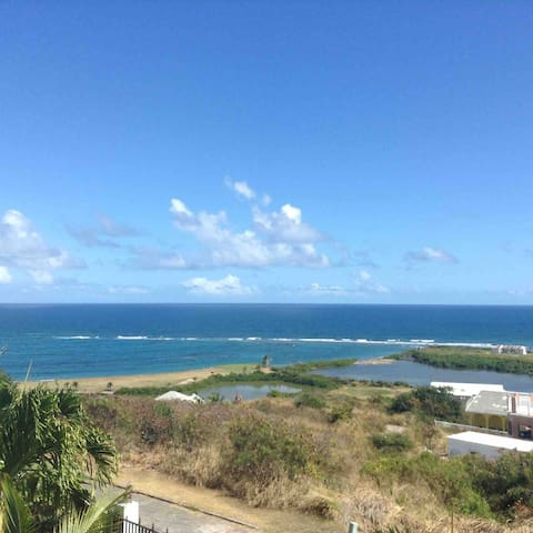 Unobstructed views of the Atlantic Ocean and Caribbean Sea also the Royal St. Kitts Golf Course, from the main floor balcony and both bedrooms.