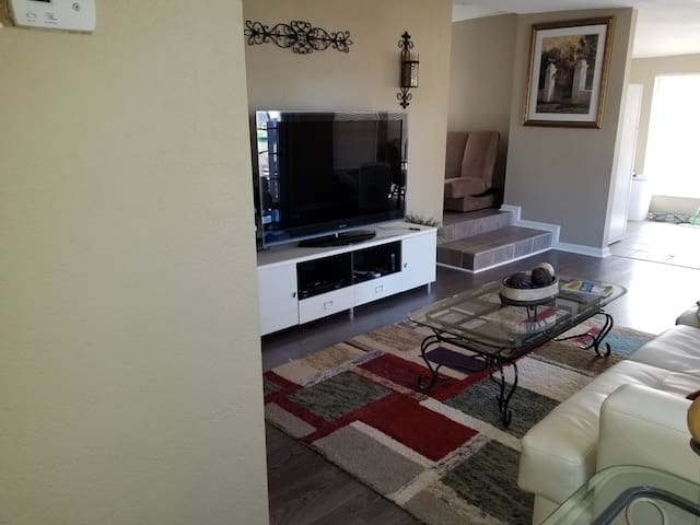 Living area with big screen TV