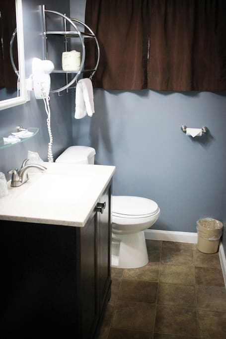 separate bath with stand up shower