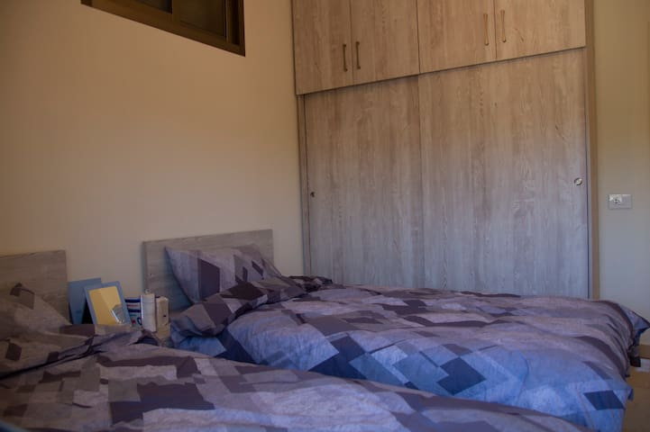 Two beds bedroom including a wall in the closet that has hangers and a console