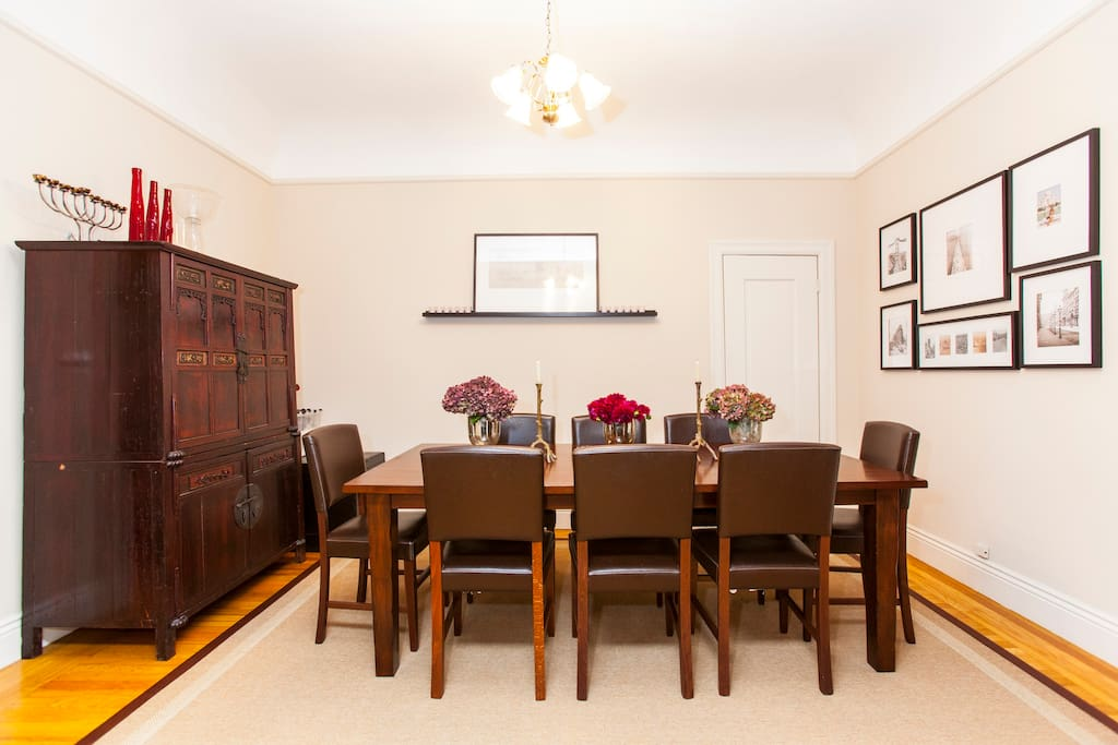 Diningroom with eight person dining table.