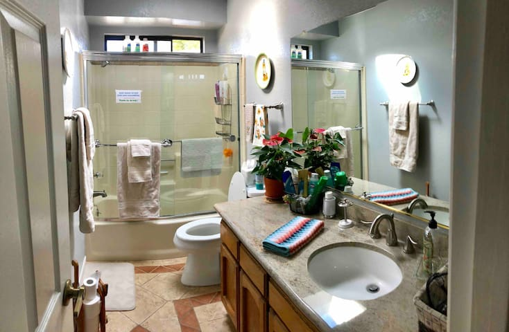 Newly painted private bathroom, high quality, thirsty towels.