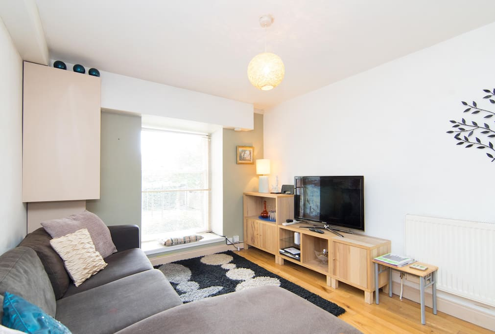 The living space overlooks the communal gardens and out onto Kelvingrove Park and the river Kelvin. It is a very comfortable and totally relaxing, private  and is very tranquil and peaceful. It has sky tv and wifi and a good sized tv with 3D option.