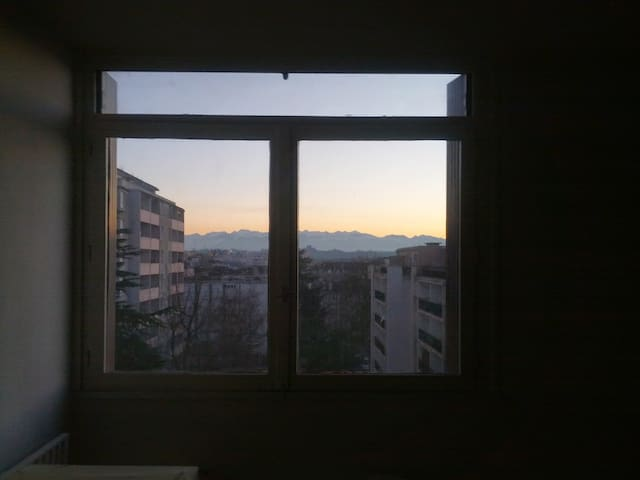 From the room, mountains in the back